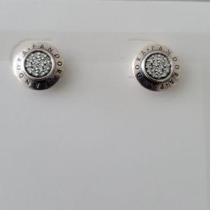 Sparkling Pandora Logo Stud Earrings ✨